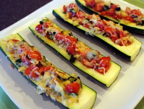 tomato and cheese stuffed zucchini Recipe