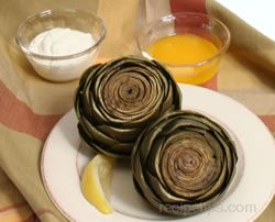 Artichokes with Butter and Garlic Mayonnaise