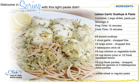 Featured Recipe: Lemon Garlic Scallops and Pasta