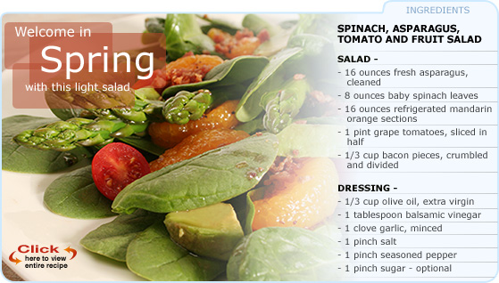 Featured Recipe: Spinach, Asparagus, Tomato and Fruit Salad