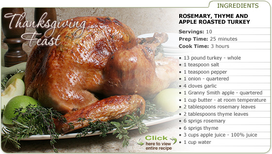 Featured Recipe: Rosemary, Thyme And Apple Roasted Turkey