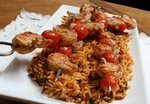 Creole Shrimp Kabobs with Tomato Rice