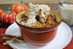 Pumpkin Bread Pudding with Cinnamon Sauce
