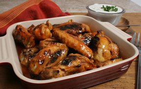 Glazed Chicken Wings with Blue Cheese Dip